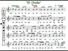 La primavera, A. Vivaldi (Flauta con notas DoM) - YouTube Vivaldi Spring, Baby Piano, Choir Songs, Music Worksheets, Recorder Music, Elementary Music, Music For Kids, Teaching Music, Music Education
