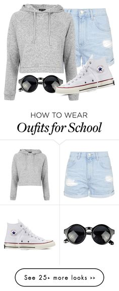 """School :,("" by fungirl1forlife on Polyvore featuring Topshop and Converse"