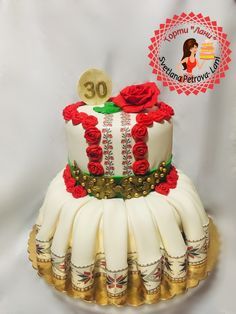 Bulgarian national costume - cake by gudza Indian Cake, Dress Cake, May Weddings, Fashion Cakes, Cake Decorations, Bulgarian, Pretty Cakes, Cakes And More, Cake Designs