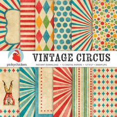 Circus Digital Paper - vintage circus party, carnival, stripes, diamonds, giraffe, elephant, clown, sunburst photography backdrop 8082