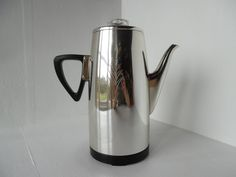 Vintage Sona ware stove top coffee percolator with bakelite handle and trivet by BlindDogVintage on Etsy