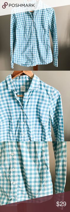 J. Crew Perfect Shirt in Blue Gingham Classic button down from J. Crew, retail not factory. Turquoise/bright blue gingham. Size 0. No flaws to note. J. Crew Tops Button Down Shirts