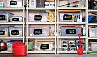 Chalkboard Paint Use: Just paint a square on your plastic bins and label them- so cool!