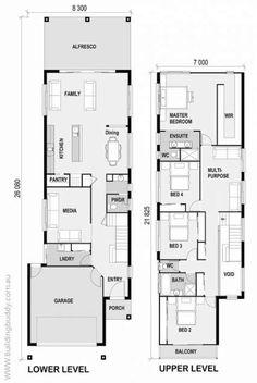 Crimson Bottlebrush - Small Lot House Floorplan by… Narrow House Designs, Narrow Lot House Plans, Open House Plans, Beach House Plans, Dream House Plans, Duplex Floor Plans, House Floor Plans, Duplex Design, House Blueprints