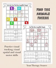 Visual Tracking, Visual Spatial and Visual Motor Activity - Find the Animal… Visual Motor Activities, Visual Perceptual Activities, Sensory Activities, Therapy Activities, Physical Activities, Ot Therapy, Vision Therapy, Music Therapy, Therapy Ideas