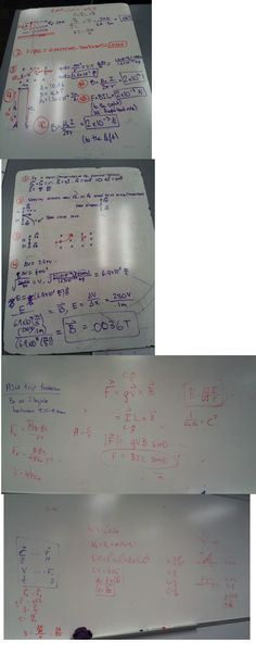 On Thursday we focused on the completion og E&M Unit 4 – Magnetism: Worksheet 3 which focused on applying the concepts of the magnetism lecture we had listened to that day (you can see some of these functions on the white board pictures I uploaded above, second half). Some pictures of the answers I had for W/S 3 can be seen on the first half of the image above. During this worksheet I learned how to write a relationship between the electric field and magnetism under specific circumstances…