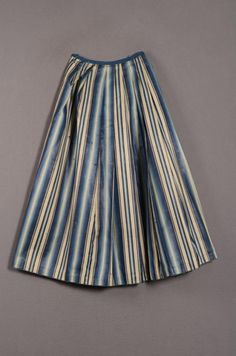 underskirt | Fashion Muse, 1750 - 1800, blue striped cotton and mohair., Netherlands