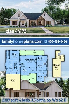 This 4 bedroom house plan, in the popular farmhouse style, offers over 2300 sq ft of heated living space as well as a 462 sq ft bonus room for future expansion. A beautiful home with amazing curb appeal that is likely to be the shining star of the neighborhood. Family home plan 44192 #splitfloorplan #4bedroom #houseplans #countryhome #countrystyle #homeideas #farmhouse 4 Bedroom House Plans, Family House Plans, Cottage House Plans, New House Plans, Dream House Plans, House Floor Plans, Kids House, Southern House Plans, Country House Plans