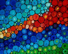 Colorful Abstract Painting Rainbow Art Mosaic Blue Red Green Purple Yellow Large Canvas Aqua Spirals - Color Melody - Commission Painting. $495.00, via Etsy.