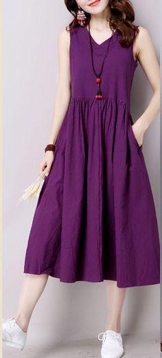 Women loose fit plus over size pocket dress skater skirt purple V neck fashion #unbranded