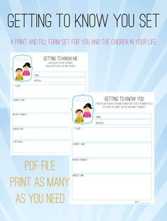 Hello. let me tell you about myself... that is the mantra of fall. Its exciting to meet so many new faces but it can be hard to remember everything about everyone. Its even harder to remember who you told what about yourself.  This Getting To Know You Set has printable forms one for the child (or their parents) to fill out and one for you to fill out and give to them. The best part is you can fill yours out once and photo copy it to give to all the families who will be joining you.  It is a…
