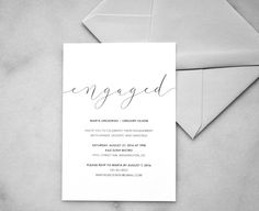 Printable Engagement Party Invitations — Modern Minimalist Engagement Party Invite Announcement - Simple Custom Black and White Invitations  |  Printable Save The Date — Dark Floral Botanical Wedding Save The Date, Made to Order - Customizable Wedding Invitations - DIY Weddings  |  www.whistleandwave.com/shop or www.etsy.com/shop/WhistleAndWavePrints