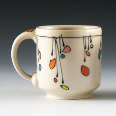 Emily Free Wilson - His Cup - vases. Pottery Painting Designs, Pottery Designs, Mug Designs, Pottery Mugs, Ceramic Pottery, Ceramic Cups, Ceramic Art, Painted Mugs, Painted Pottery