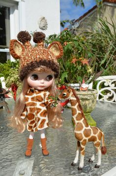 """Shared by La Gata Blanca who says, """"I love this giraffe hat that Jenny from Cherry Creek Crochet made for my girl. Thank you Jenny, it looks perfect on my Marie! Marie is a custom factory blythe do..."""