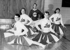1950's cheerleaders | Germantown HS Cardinal Cheerleaders late 1950s, Chuck Shields in back ...