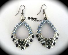 BO OVALES BLEUES 2 Seed beads Super Duo Earrings Hoops