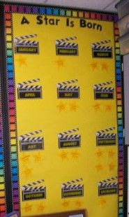 "A Star Is Born! – Hollywood Themed Bulletin Board Idea Bulletin Board idea — Might be a great tie-in with the ""Read a Good Movie"" display Elementary Hollywood Theme Classroom and Bulletin Board Idea for movie themed classroom. Birthday Bulletin Boards, Classroom Bulletin Boards, Preschool Birthday Board, Stars Classroom, Preschool Classroom, Star Themed Classroom, Classroom Displays, Classroom Themes, Movie Classroom"