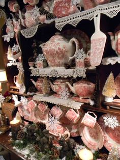 Nancy's Daily Dish: Red Transferware and Snowflakes Christmas Hutch, a Winner and Decorating Motivation...or Not