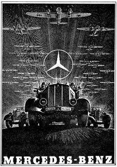 Mercedes-Benz (También conocido como Daimler Benz) la publicidad en tiempos de guerra.