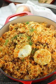 Plov is the ultimate Russian comfort food Its a one pot chicken and rice recipe that is packed with flavors and spices and just takes a few steps to reach ultimate rice p. Rice Recipes, Chicken Recipes, Dinner Recipes, Cooking Recipes, Curry Recipes, Bread Recipes, Cooking Tips, Holiday Recipes, Sausage Recipes