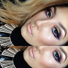 That is eye makeup to the max with the glitter and liner Very good though reminds me of Arabic makeup