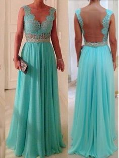 Amazing Blue chiffon Lace Rhinestone Floor-Length Prom Dress, Evening Dress | Cheap 2015 prom dresses Sale