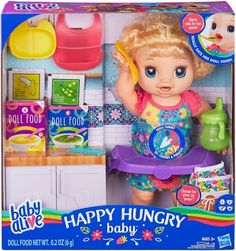 Baby Alive - Happy Hungry Baby Doll - Styles May Vary Best Picture For baby alive dolls diy For Your Baby Alive Doll Clothes, Baby Alive Dolls, Baby Dolls, Crafts For Girls, Toys For Girls, Muñeca Baby Alive, Baby Blonde Hair, Baby Doll Accessories, Doll Food