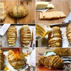 Cooking class time - How to bake yummy cheesy potatoes DIY tutorial step by step instructions Batatas Hasselback, Hasselback Potatoes, Cheesy Potatoes, Stuffed Potatoes, Sliced Potatoes, Potato Dishes, Potato Recipes, Comida Diy, Making Baked Potatoes