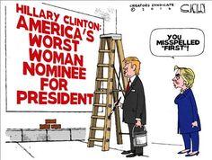 Hillary Clinton: America's worst woman nominee for President |POLITICALLY INCORRECT CARTOONS