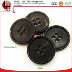 Natural real xo buffalo horn buttons bone four holes flatback garment accessories for suit or coat