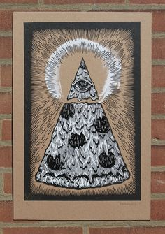 Illuminati Pizza    Hand Pulled Linoleum Cut  Printed on Heavy Weight Chipboard  Signed     Paper Size 14'' x 21''