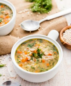 A bowl of Chicken with Couscous and spinach Soup