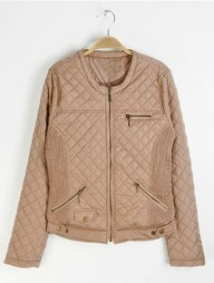 Khaki Long Sleeve Zipper Embellished Pockets Coat