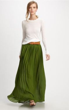 Pleated Skirt - love this color. Green , in various shades is becoming one of my favorite colors!
