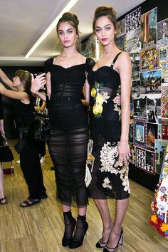 runwayandbeauty: Taylor Marie Hill & Zhenya Katava - Backstage at Dolce & Gabbana Spring 2016, Milan Fashion Week.