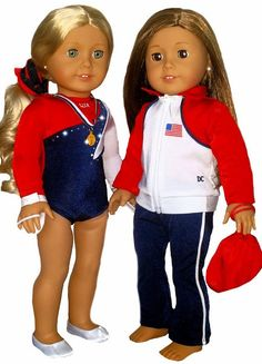 18 Inch Doll Clothes - Fits American Girl Dolls - Team USA Leotard GYMNASTICS Outfits - 7 Piece Dress Set! by DollConnections on Etsy