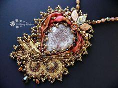 Bead embroidered Pendant Crazy Lace Agate necklace Shibori silk ribbon Beadwork EBW  seed beaded jewelry OOAK Ebeg on Etsy, $119.35 AUD