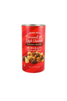 23 Holiday Products From Trader Joe's That Are Perfect For Lazy Girls #refinery29  http://www.refinery29.com/favorite-trader-joes-holiday-food-products#slide-15  Caramel & Dark Chocolate Popcorn CrunchConsider this another gift-worthy treat or party snack for guests....