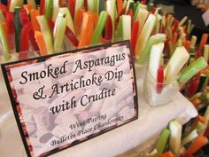 Crudite in a shot glass with dip - Looks pretty on a table display