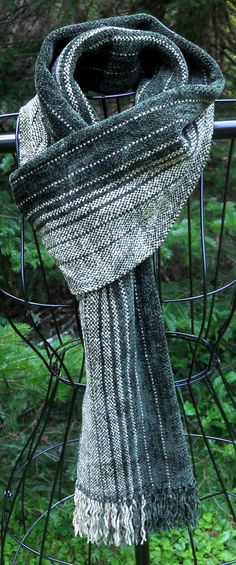 Men's HandWoven Chenille Scarf in Spinach & Sage by LuCook on Etsy, $65.00