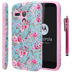 Moto G Case, Style4U Motorola Moto G Flower Design Slim Fit Hybrid Armor Case with 1 Stylus and 1 HD Clear Screen Protector (Flower Pink)