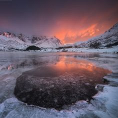 """Daniel Kordan via 500px - """"Lofoten islands, Flakstadpollen.  We returned safe back home today from Seven Giants of Ural mountains. A lot of adventures past 2 weeks: temperatures up to -30 C with tents, 150 km of skiing with 35 kg backpack and snow blizzards. But we endured and survived this harsh conditions coming back home safely and healthy. """""""