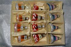 Karton alter DDR Baumschmuck 12 Stück bunte Glocken Glasglocken aus Lauscha 1960 | eBay