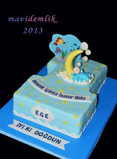 mavi demlik mutfağı- izmir butik pasta kurabiye cupcake tasarım- şeker hamurlu-kur: EGE'NİN RÜYA TEMALI 1 YAŞ PASTASI