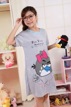 Summer Angry Bird Print Short Sleeves Nightgown for Women on BuyTrends.com, only price $6.38