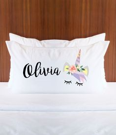 Personalized Unicorn Pillowcase with Name for Girls Bedroom Decor - Gift for Her Pillow Unicorn Magical Fairytale Room Decor (Item - PUN400) by ZCGifts on Etsy