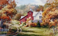Memories of Autumn , Farm in Southern Vermont, New England - Watercolor Paintings by Roland Lee