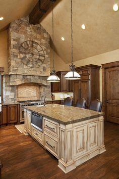 Beautiful stone around the stove!
