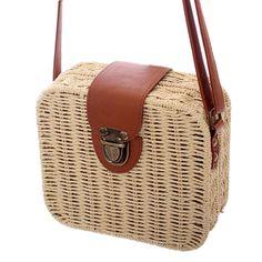 R  43.73 34% de desconto Bolsas de mini sacos de mulheres mensageiro de  couro das mulheres bolsa de Palha Quadrado senhoras Crossbody Bag Bolsa de  ombro ... 84be618d6b