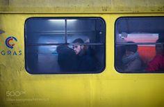 Frames of life by AlfredoOliva with yellowcitywinterstreettravelwindowtrammanlifecolorscanontownbustexturesstreetlifeframestreetphotographytransportsSarajevoBosnia